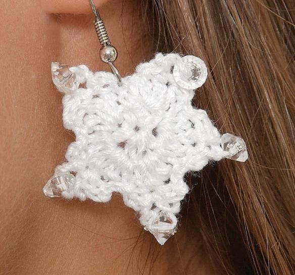 W182 Crochet PATTERN ONLY Star Spangled Earrings Pattern