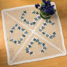Y090 Crochet PATTERN ONLY Forget-Me-Not Square Doily