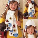 X533 Crochet PATTERN ONLY Snow Flower Hat & Scarf Set Pattern