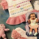 X114 Crochet PATTERN ONLY Ribbons and Bows Dress and Ruffled Pants Pattern