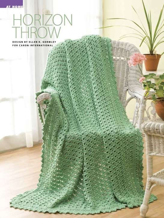 Y874 Crochet PATTERN ONLY Horizon Throw Afghan Pattern