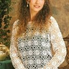 X149 Crochet PATTERN ONLY Shasta Daisies Airy Floral Motif Pullover Sweater