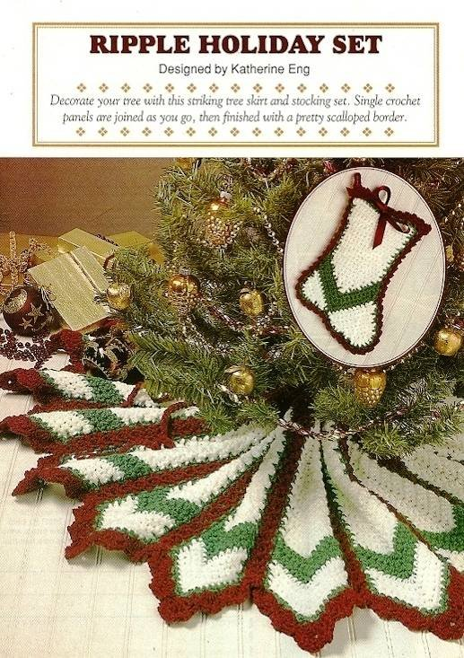 X306 Crochet PATTERN ONLY Ripple Holiday Tree Skirt and Stocking Patterns
