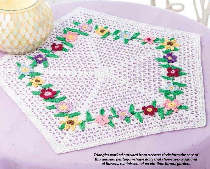 W340 Crochet PATTERN ONLY Pentagon Shape Flower Garden Doily Pattern
