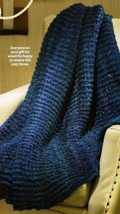 X868 Crochet PATTERN ONLY Cozy Blue Throw Afghan