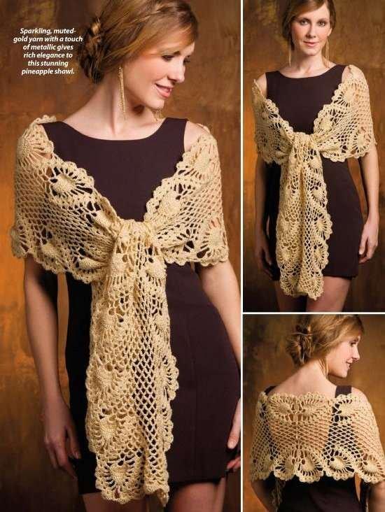 Y819 Crochet PATTERN ONLY Elegant Goddess Shawl Pattern