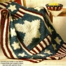 X887 Crochet PATTERN ONLY Patriotic Red White & Blue Throw Afghan