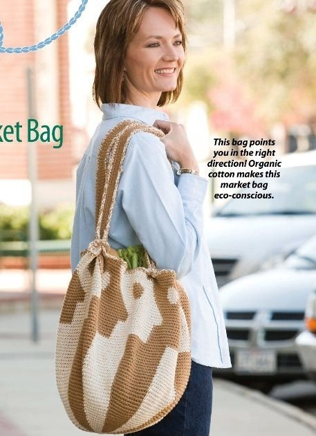 X058 Crochet PATTERN ONLY Market Bag Satchel Tote Pattern & Bonus