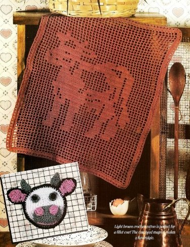 W027 Filet Crochet PATTERN ONLY Country Chocolate Cow Kitchen Decor Pattern + Bo