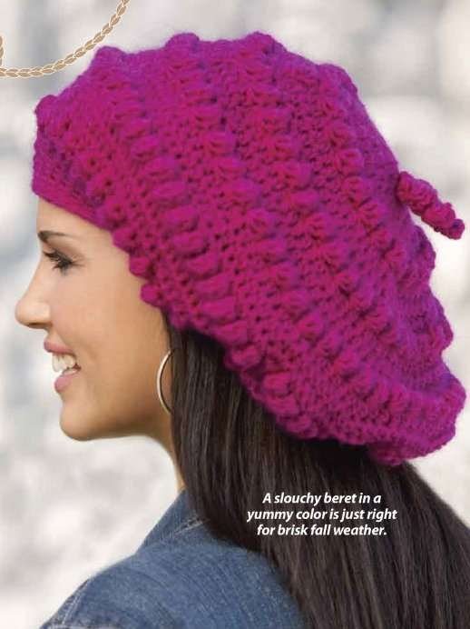 Y786 Crochet PATTERN ONLY Ladies Bobbled Beret Pattern