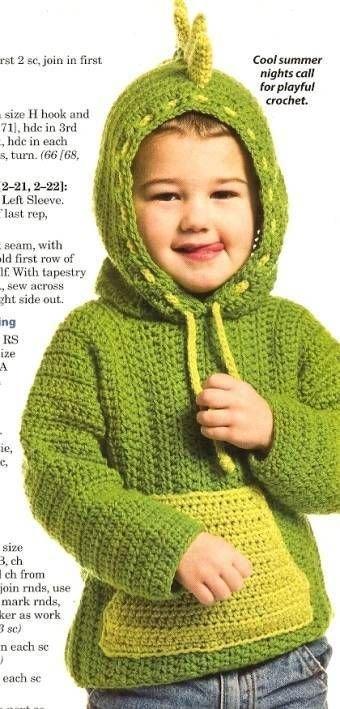 X774 Crochet PATTERN ONLY Dinosaur Hoodie Sweater Jacket Pattern