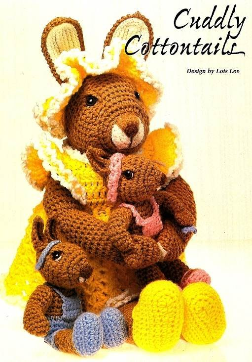 Y745 Crochet PATTERN ONLY Cuddly Cottontails Momma & Baby Rabbit Doll Patterns