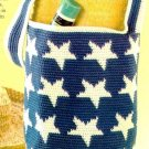 X032 Crochet PATTERN ONLY Patriotic Star Satchel Tote Bag Pattern