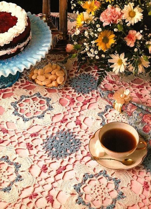 X936 Crochet PATTERN ONLY Spring Tea Time Tablecloth Floral