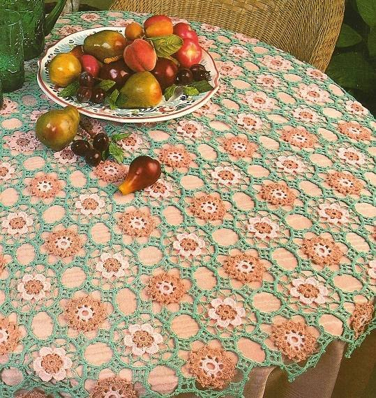 Y170 Crochet PATTERN ONLY Lacy Roses Tablecloth Tablecover