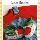 Y485 Crochet PATTERN ONLY I Love Mom / Dad Baby Booties Pattern