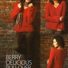 X431 Crochet PATTERN ONLY Berry Delicious Pullover Sweater & Kimono Vest Pattern