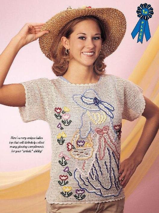 Y999 Crochet PATTERN ONLY Ladies Lacy Flower Girl Motif Spring Top Pattern