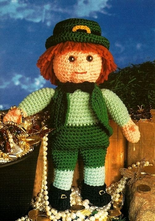 X087 Crochet PATTERN ONLY Lucky Leprechaun St. Patrick�s Day Doll Pattern
