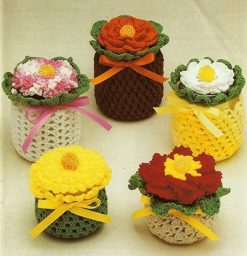 X251 Crochet PATTERN ONLY 5 Jar and Jar Lid Cover Pattern