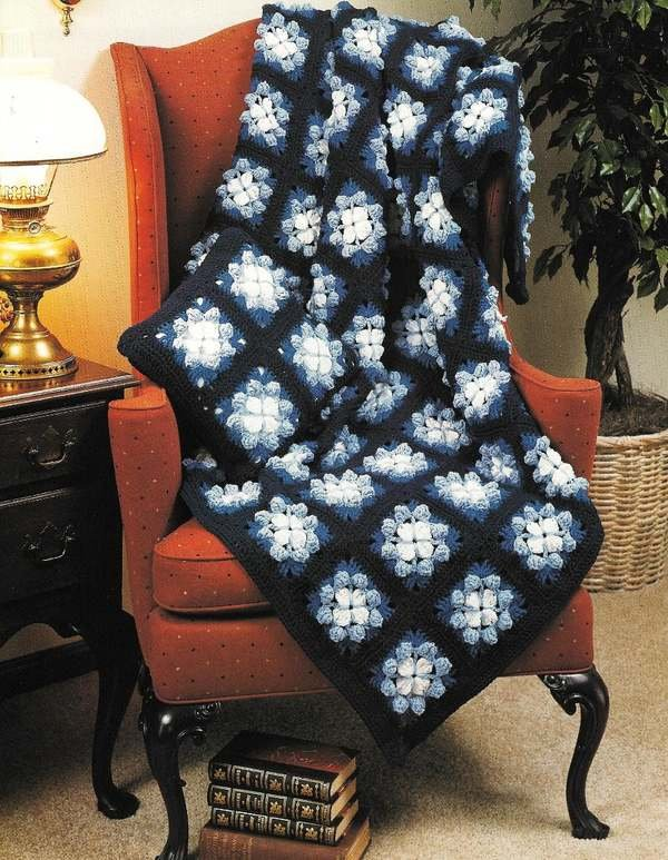 X846 Crochet PATTERN ONLY 3 Afghans, 1 Baby Blanket & 1 Sweater