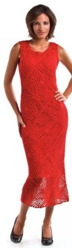 W344 Crochet PATTERN ONLY Ladies Red Hot Valentine Sleeveless Dress Pattern