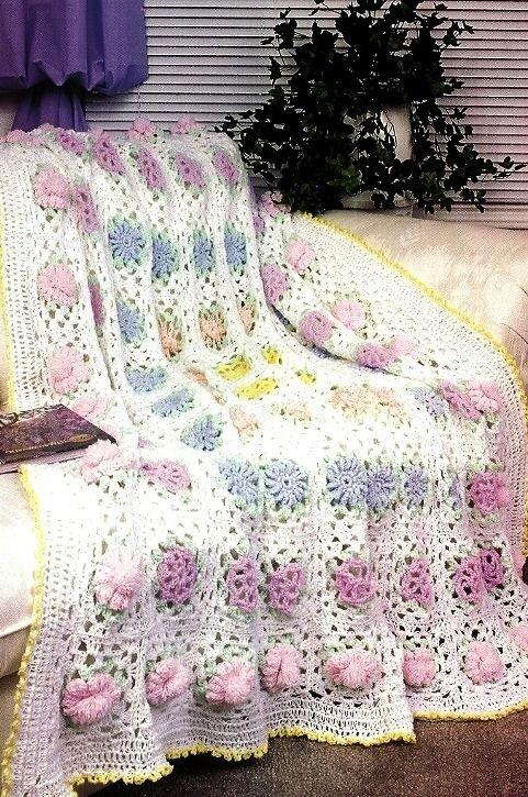 W092 Crochet PATTERN ONLY Field of Flowers Afghan Pattern