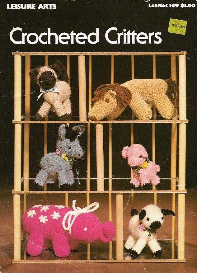 X197 Crochet PATTERN Book ONLY Crocheted Critters Animals Donkey Pig Lamb Kitten