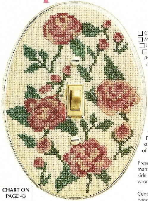 Y069 Cross Stitch PATTERN ONLY Rose Light Switch Cover Chart Pattern