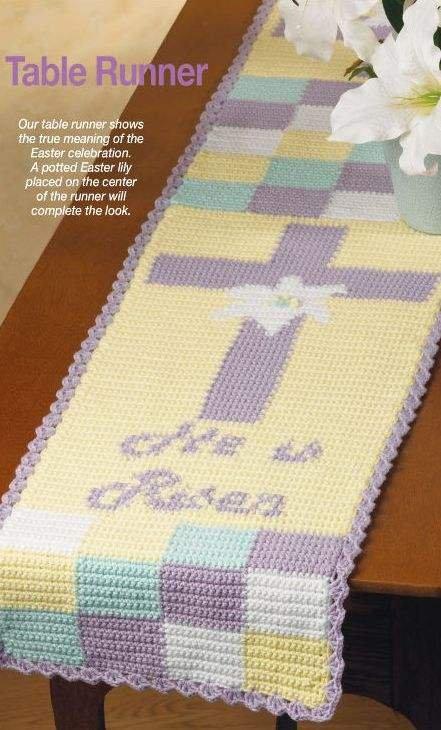 """X974 Crochet PATTERN ONLY """"He Is Risen"""" Table Runner Easter Jesus Cross"""