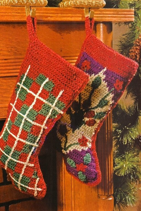 X661 Crochet PATTERN ONLY 2 Christmas Stocking Pattern Oriental & Tartan