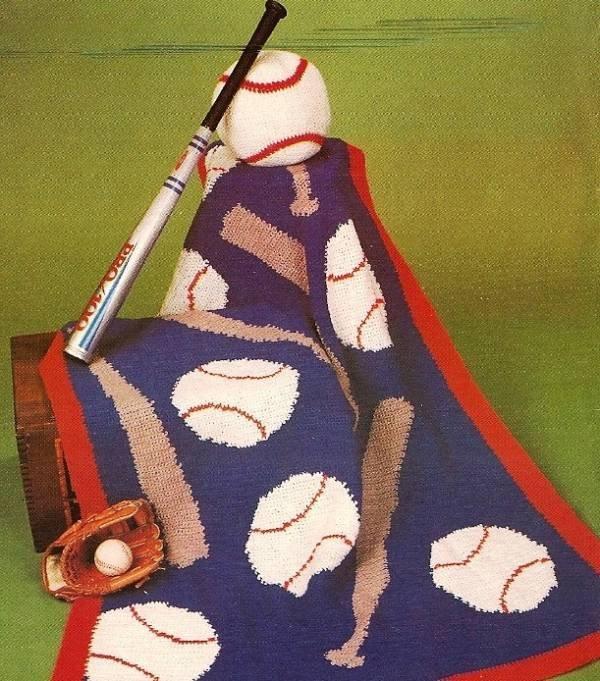 Y377 Crochet PATTERN ONLY All American Baseball Bat & Ball Afghan Pattern