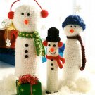 Y721 Crochet PATTERN ONLY Snowman Bottle Cover Trio  Christmas Décor