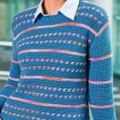 W111 Crochet PATTERN ONLY Casual Colorwork Stripe Pullover Sweater Pattern
