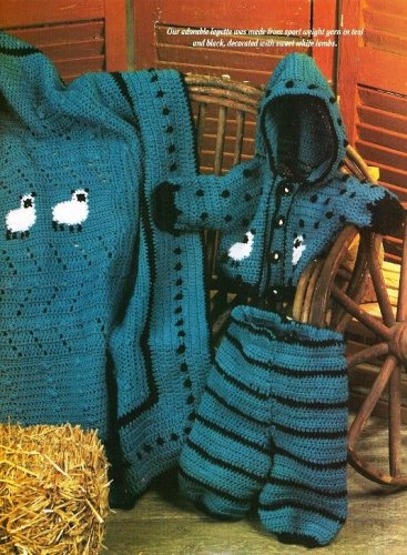 Y583 Crochet PATTERN ONLY Lamb Baby Layette Hoodie Jacket Pants Afghan Patterns
