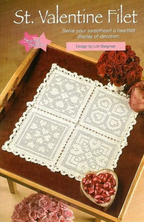 X821 Filet Crochet PATTERN ONLY St. Valentine Heart Motif Table Scarf or Doily