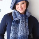 Y103 Crochet PATTERN ONLY Broomstick Lace Beret & Scarf