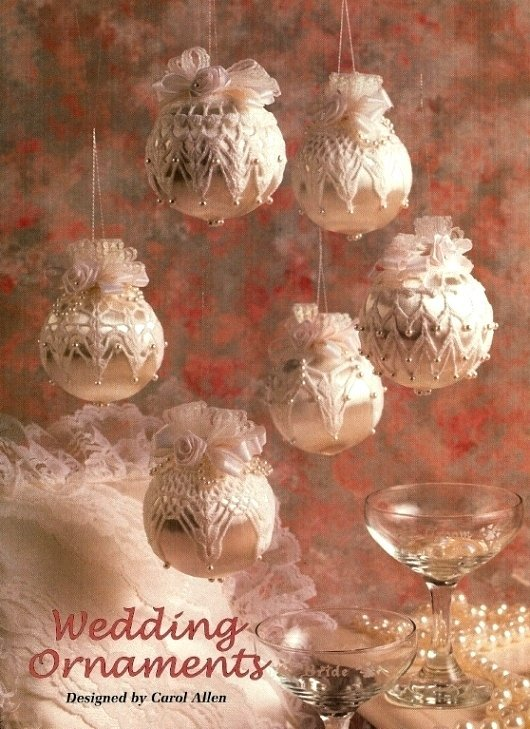 X915 Crochet PATTERN ONLY 6 Christmas or Wedding Ornament Cover Patterns