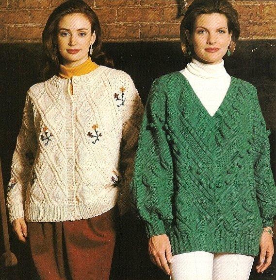 X486 Knit PATTERN ONLY Floral Trellis Cardigan Larkspur V-Neck Pullover Sweater