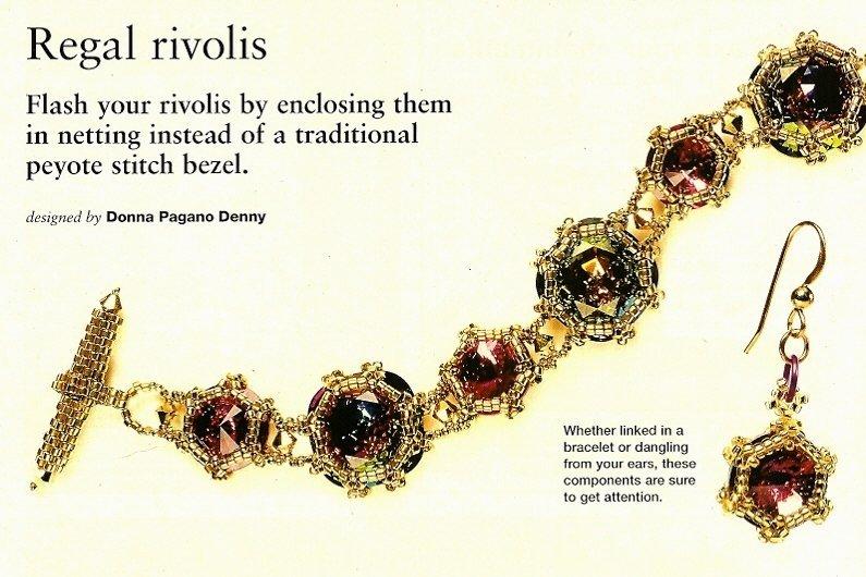 X588 Bead PATTERN ONLY Beaded Regal Rivolis Bracelet & Earrings Patterns