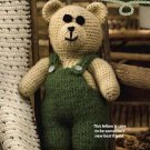 X413 Crochet PATTERN ONLY Fuzzy Bear in Overalls Toy Pattern