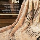 Y584 Filet Crochet PATTERN ONLY Log Cabin Filet Popcorn Afghan Pattern