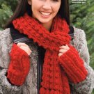 X740 Crochet PATTERN ONLY Sparkle Scarf, Mittens and Wristlet Pattern