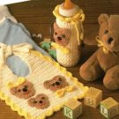 Y415 Crochet PATTERN ONLY Baby Bears Bib & Bottle Cover Pattern