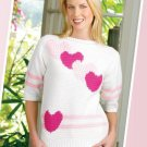 W141 Crochet PATTERN ONLY Candy Hearts Pullover Ladies Sweater Pattern