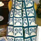 W091 Crochet PATTERN ONLY Royal Bows Afghan Pattern