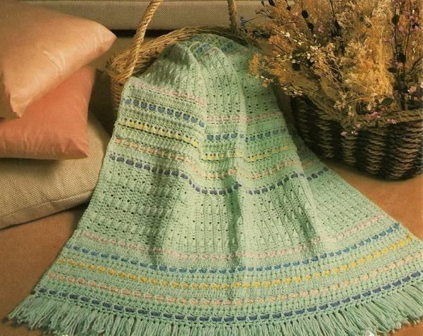 Y300 Crochet PATTERN ONLY Pretty Pastels Striped Afghan Pattern