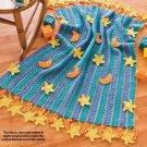 X026 Crochet PATTERN ONLY Fringe-as-You-go Stars & Moons Baby Blanket Pattern