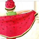 X438 Crochet PATTERN ONLY Baby & Child Whimsical Watermelon Blanket & Hat