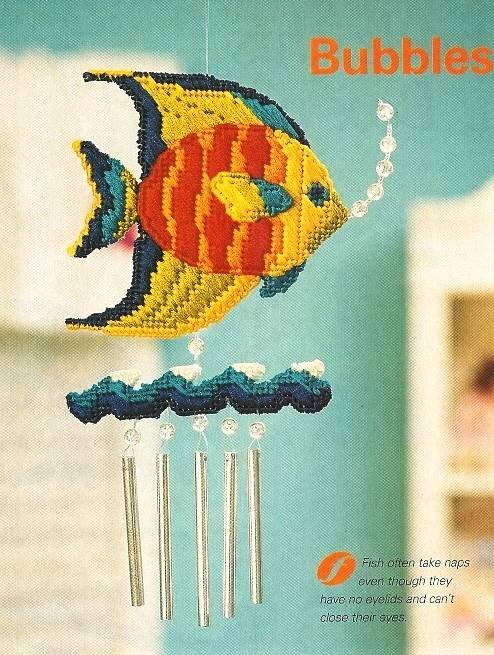 Y503 Plastic Canvas PATTERN ONLY Bubbles & Chimes Tropical Fish Wind Chime Patte